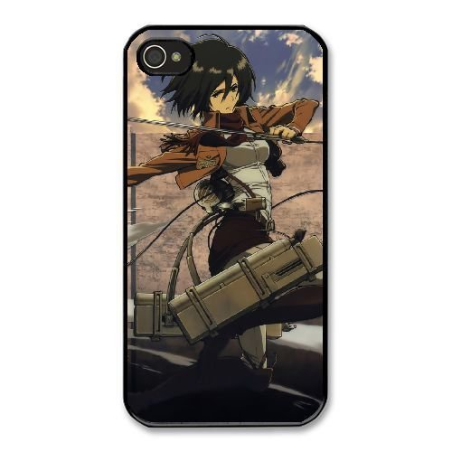 HD exquisite image for iPhone 4 4s Cell Phone Case Black mikasa ackerman attack on titan (Mikasa Mobile)