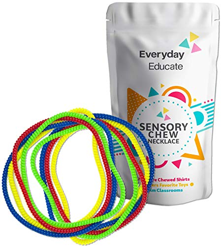 (Chew Necklace Sensory Jewelry - Fun Sensory Motor Aid Chewelry for Boys & Girls with Autism ADHD & Sensory-Focused Needs - Oral Motor Chewing Biting Teething Help - Chewable Jewelry (8))