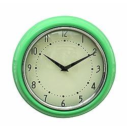 Creative Co-Op Urban homestead Round Metal Wall Clock, 9.5-Inch, Aqua