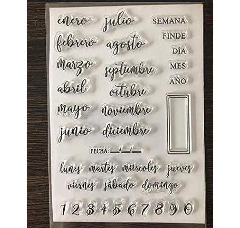 Sello/Sello de silicona transparente español claro para álbum de fotos/álbum de recortes de bricolaje Hojas de sellos decorativos claros A1048: Amazon.es: Oficina y papelería