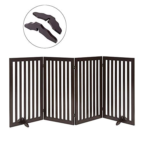 Total Win Freestanding Pet Gate for Dogs with 2PCS Support Feet, Foldable Wooden Dog Gates for Doorways Stairs, Indoor Puppy Safety Fence, Extra Tall Wide, 36 Inches H, 80 Inches W, 4 Panels, Espresso (Best Pet Gates For Dogs)