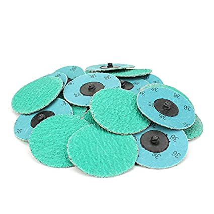 60 Grit 25 Pack 3 Green Zirconia with Grind Aid Quick Change Sanding Discs Type R Male /… Roll On