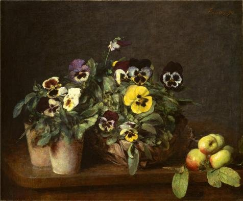 Perfect Effect Canvas ,the Imitations Art DecorativeCanvas Prints Of Oil Painting 'Henri Fantin-Latour-Still Life With Pansies,1874', 8x10 Inch / 20x25 Cm Is Best For Game Room Decor And Home Decoration And - Pansy Messenger