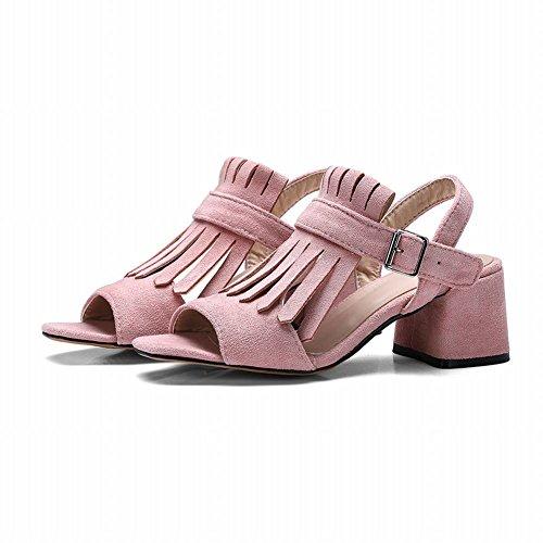 Mee Shoes Women's Charm Buckle Mid Heel Block Heel Solid Color Sandals Pink SFSQFsQOMo