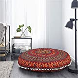 Gokul Handloom Large Round Pillow Cover Decorative Mandala Pillow Sham Camel and Peacock Designs Indian Bohemian Ottoman Poufs Cover Pom Pom Pillow Cases Outdoor Cushion Cover