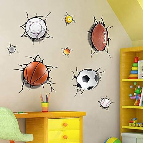 Etiqueta de la pared Simulación 3D Fútbol Roto Baloncesto Voleibol ...