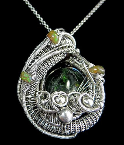 Chrome Diopside Wire-Wrapped Pendant in Sterling Silver with Ethiopian Welo Opals