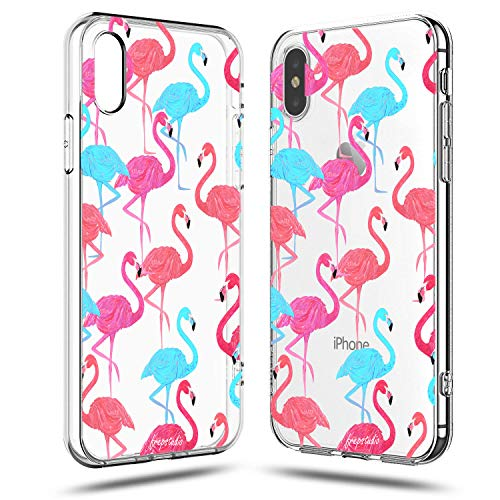 Compatible iPhone X Women Case,Aloha Summer Beach Hipster Women Pink Fashion Flamingos Colorful Cute Tropical Pink Animal Bird Girls Spring Hawaii Funny Design Clear Soft iPhone X/Xs Case ()