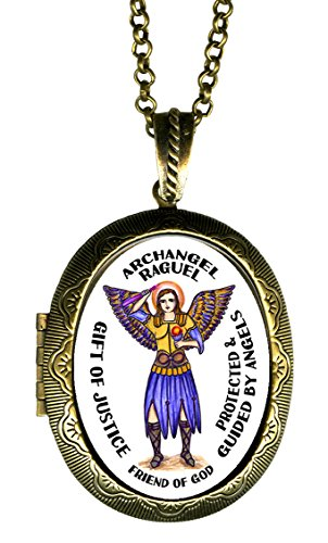 Archangel Raguel Gift of Justice Friend of God Xl Solid Perfume Locket Pendant Gold Bronze (Glass Arch Keepsake)