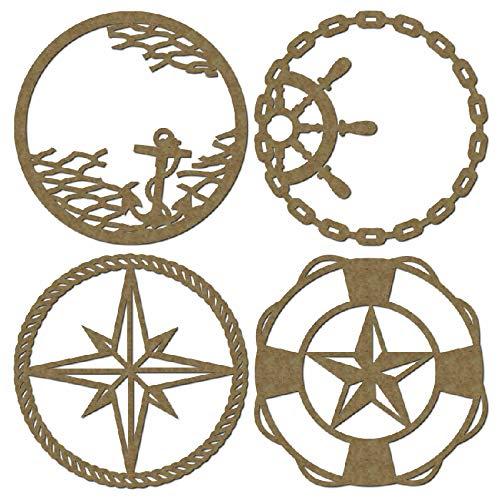 Nautical Theme Artist Trading Coins - Laser Cut Scrapbook Chipboard - 4 Piece Set