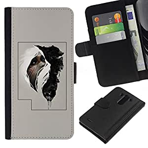 For LG G3 Case , Tribal Man Poster Mysterious - la tarjeta de Crédito Slots PU Funda de cuero Monedero caso cubierta de piel