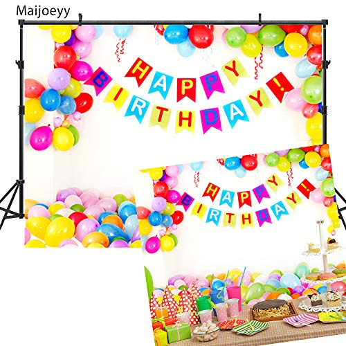 7x5ft Happy Birthday Backdrops Photography Backdrops Colorful Balloons Photo Backdrop for Pictures Photography Props YY00203