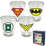 ICUP 4-Pack DC Comics Insignia Shot Glass