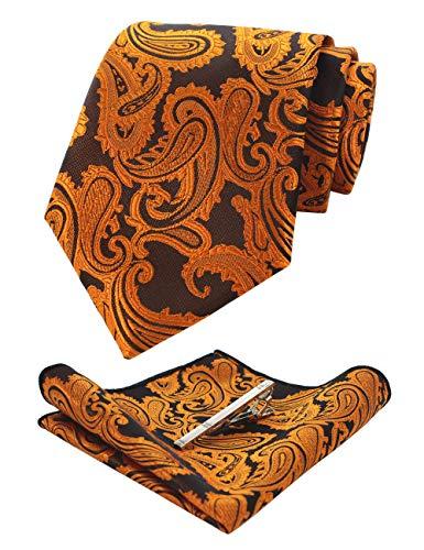 (JEMYGINS Paisley Gold Orange Tie and Pocket Square, Silk Necktie with Tie Clip Sets for Men (11))