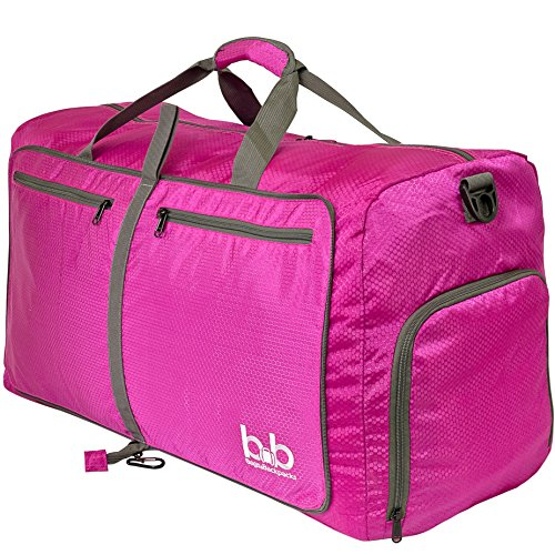 BB Large Duffle Bag with Pockets for Women and Men - Travel Duffel Bags for Gym Sports (Pink)
