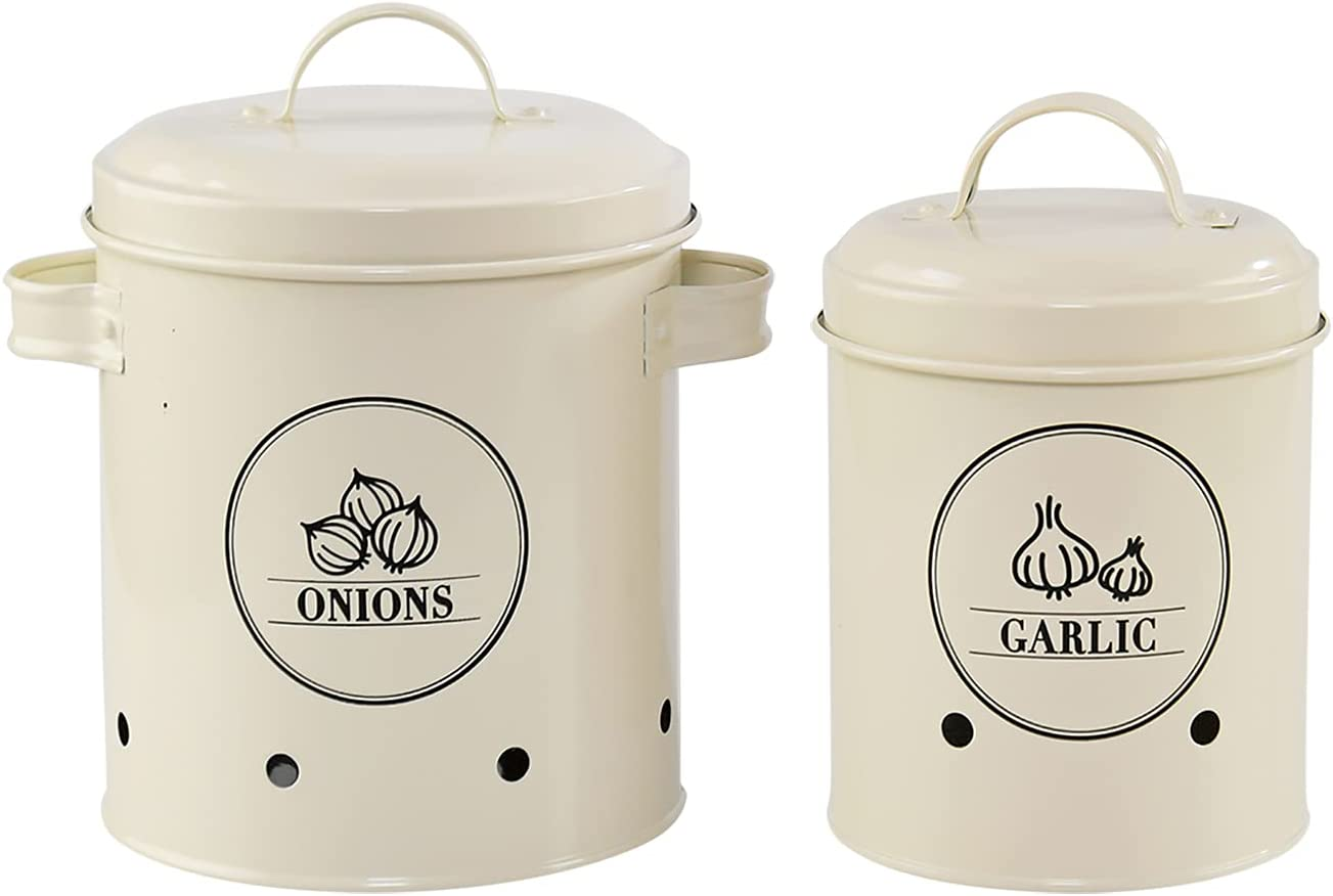 HOME-X Canister Sets for Kitchen Counter, Garlic and Onion Storage Containers, Set of 2, Onion: 5 ½