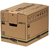 SmoothMove Heavy Duty Double Wall Cardboard Moving and Storage Boxes with Handles - Tape Free Assembly and FastFold Automatic Pop Up Set Up, 37.5 Litre, 30 x 30 x 40.5 cm (5 Pack)