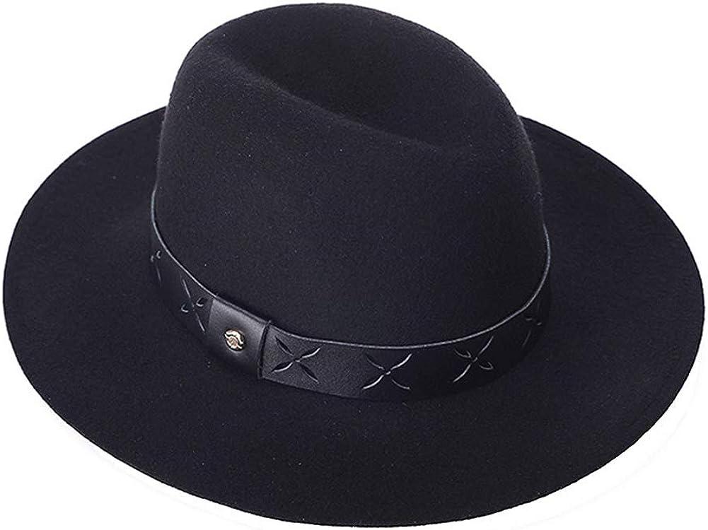 AIEOE - Sombrero de Jazz Fieltro Trilby de Lana Gorra Fedora Retro con ala Ancha Decoración Color Sólido para Fiesta Viaje Mujer Hombre
