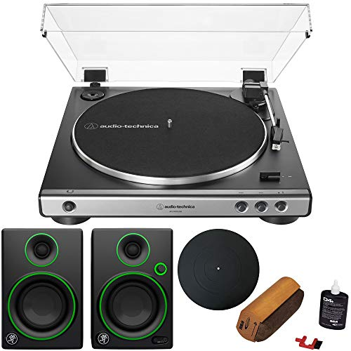 (Audio-Technica Fully Automatic (Analog/USB) Belt-Drive Stereo Turntable +Audio Immersion Bundle w/Protective Turntable Platter, Vinyl Record Cleaning System & Mackie CR3 3
