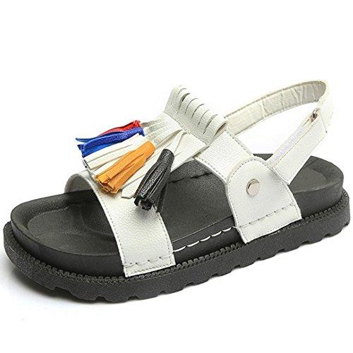 RAZAMAZA Mujeres Borlas Slingback Slide Sandalias Velcro 76 Blanco