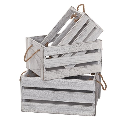 SLPR Decorative Storage Wooden Crates (Set of 3, Rope Handles) | Perfect for Floral Arrangements Gardening Wedding Vintage Country Chic Rustic Distressed Style (Basket Distressed White)