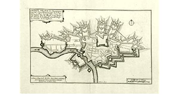 Amazon Com Antique Map Fort Sedan Meuse France De Fer 1694