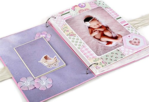 Kristabella Creations Baby Girl Scrapbook Album, Baby Photo Album, Personalized Baby Girl Memory Book, Newborn Baby Photo Album, First Year Keepsake Album, size A4 by Kristabella Creations