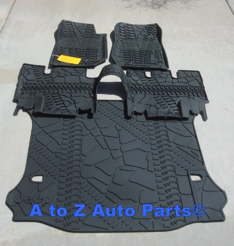 (NEW 2014 Jeep Wrangler JK 4-DOOR Slush Style Floor Mats & Cargo Mat COMBO SET,OE)