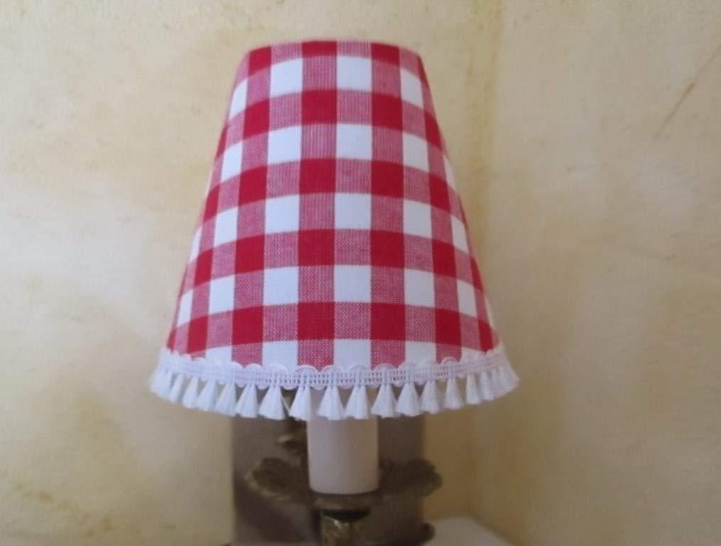 Abat-jour à pince clip pour applique murale ou lustre, carreaux vichy rouges et blancs avec franges, style campagne et montagne - Fait main
