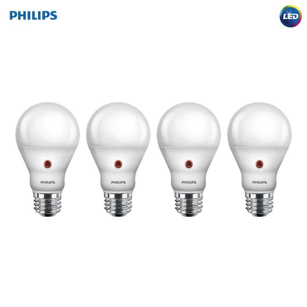 Philips LED 466565 BC8A19/AMB/827/ND D2D 120V 4/1 60 Watt Equivalent Soft White Dusk-Till-Dawn Indoor/Outdoor A19 LED Light Bulb, 4 Pack