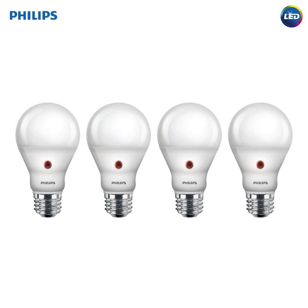 Philips LED Dusk-to-Dawn A19 Frosted Light Bulb: 800-Lumen, 2700-Kelvin, 8-Watt (60-Watt Equivalent), E26 Medium Screw Base, Soft White, 4-Pack