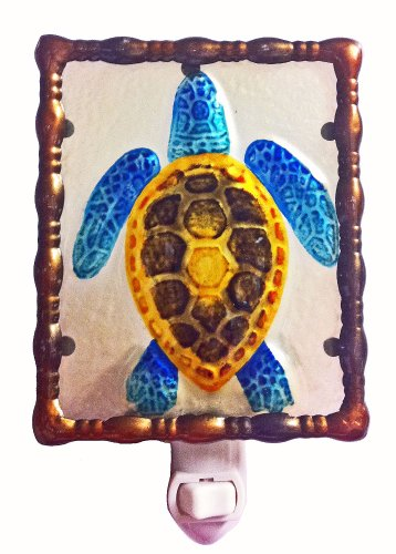 Continental Art Center NL9701 Hand Painted Glass with Night Light Sea Turtle, 5.2 by 5.6 by 1.6-Inch by Continental Art