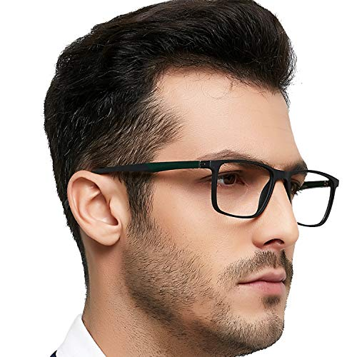 Men Non Prescription Eyeglasses Stylish TR90 Frame with Clear Lense Eyewear Lightweight - Light Frame Havana Eyeglasses