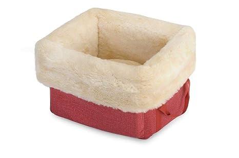 Fabotex caseta con Caja roja de Peluche para Perros y Gatos, 40 X 33 X