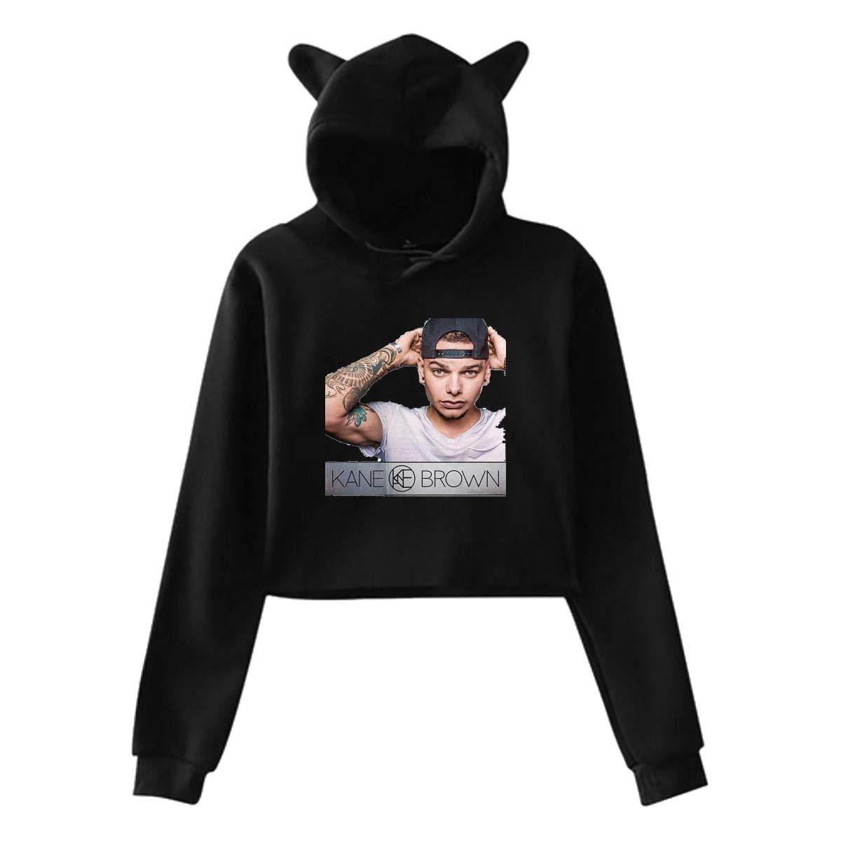 Kane Brown Women Girl Hoodies Cute Cat Ear Novelty Printed Pullover Sweatshirt