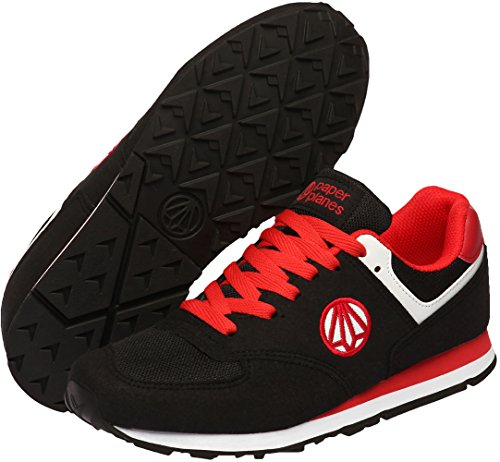 Paperplanes-1336 Unisex Classic Lace Up Suede Running Sneakers Shoes Black Red 0oQ9z