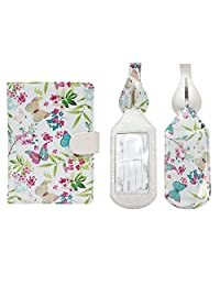 JAVOedge Butterfly Garden RFID Blocking Passport Case with 2 Matching Luggage Tags