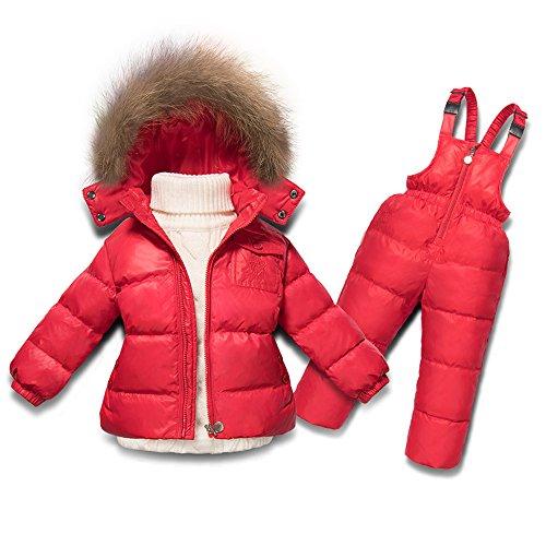 Boys Duck Active Jacket (MIQI Boys' Active Solid Snowsuit Winter Jacket Two-Piece Set 18M Red)