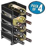 mDesign Stackable Wine Bottle Storage Rack for Kitchen Countertops, Cabinet - Holds 8 Bottles, Black