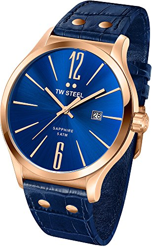 TW Steel Slim Line Blue Dial Blue Leather Mens Watch TW1305