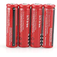 4 Pcs Button Top Batteries 18650 Battery 4000mAh, High Capacity 3.7V Rechargeable Battery Button Top Lithium Ion Battery for Smart Robot, Flashlights, Toys and Etc, Li-Ion Battery not Flat Top