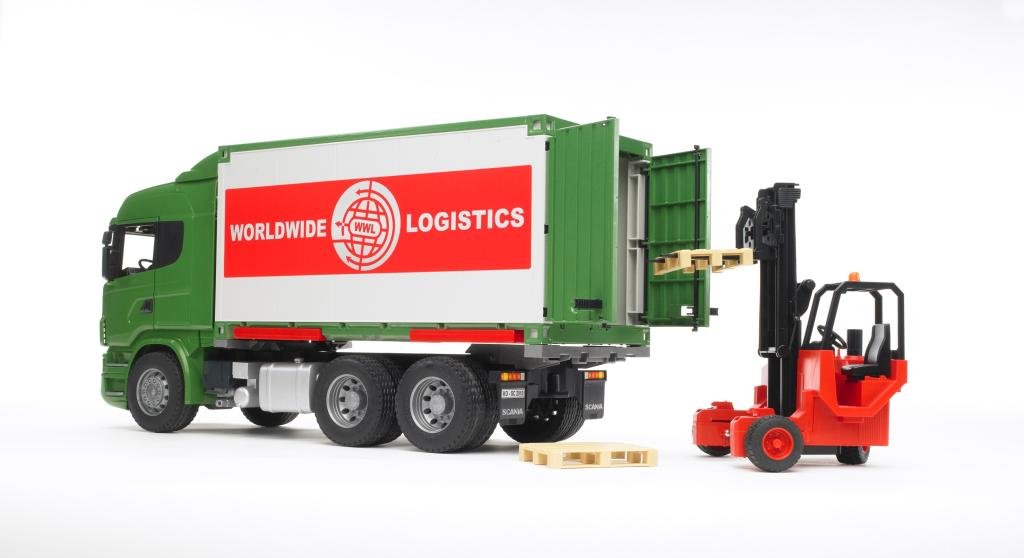 Bruder 03580 camion scania r serie vert avec container for Container modulable