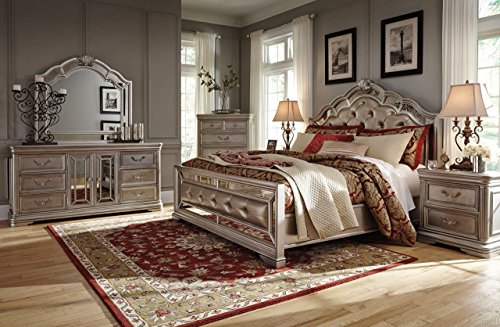Ashley Birlanny Mirrored Panel Bedroom Set - Queen, King or Cal King - 5 pc. (King) (Bedroom Panel King Cal Set)
