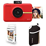Polaroid Snap Touch Instant Print Digital Camera With LCD Display (Red) with Zink Zero Ink Printing Technology w/ Starter Kit, ZINK Paper (30 Sheets), and Neoprene Protective Pouch
