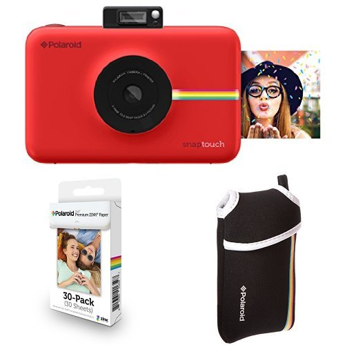 Polaroid Snap Touch Instant Print Digital Camera With LCD Display (Red) with Zink Zero Ink Printing Technology w/Starter Kit, ZINK Paper (30 Sheets), and Neoprene Protective Pouch