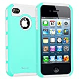 iPhone 4s Case,ARMOR Series Impact Resistant Rugge Durable Shockproof Heavy Duty Protection Dual Layer Case Cover for Apple iPhone 4 and 4s (Blue White)