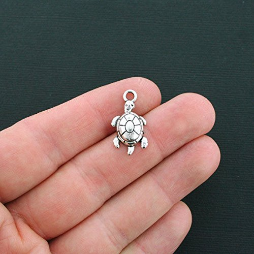 Pendant Jewelry Making for Bracelets and Chains 8 Turtle Charms Antique Silver Tone Tortoise Charms - SC1261