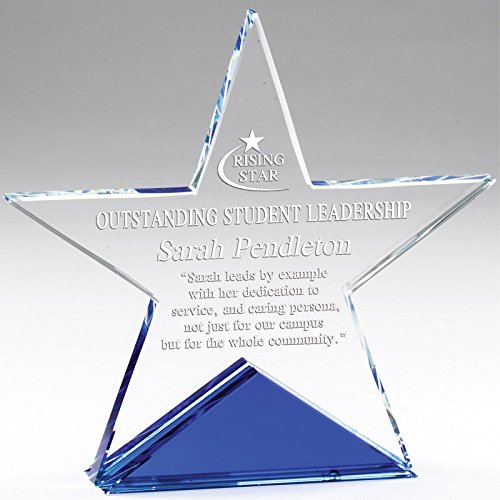 Awards and Gifts R Us Customizable 6 x 6 Inch Optical Cut Crystal Star on Blue Base with Personalization