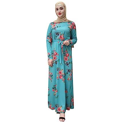 bf7dd75b39 Amazon.com : Women Muslim Dress Elegant Maxi Dress Flower Print Long ...