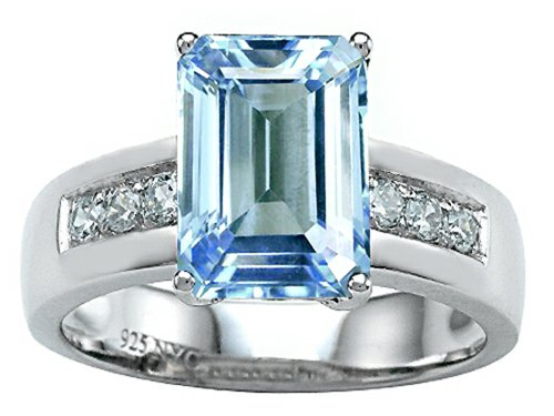 Octagon Cut Ring (Star K Classic Octagon Emerald Cut 9x7 Ring with Simulated Aquamarine Sterling Silver Size 6)